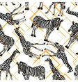 Hand drawn seamless pattern with zebra giraffe on vector image vector image