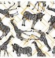 hand drawn seamless pattern with zebra giraffe vector image
