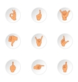 Hand icons set cartoon style vector image