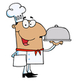 Hispanic Male Chef Serving Food vector image vector image