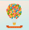 hot air balloon in the sky postcard vector image