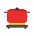 kitchen pot with stove vector image vector image