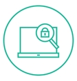 Laptop and magnifying glass line icon vector image vector image