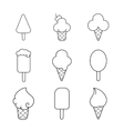 Line ice cream icons set vector image
