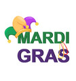 mardi gras jester hat with necklaces and words vector image