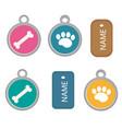 medallion dog tag set icons flat cartoon vector image vector image