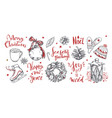 merry christmas and new year words with christmas vector image vector image