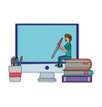 online education man cartoon vector image