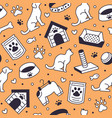 pet shop seamless pattern with flat line vector image vector image