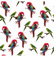 Red parrot seamless pattern on a white background