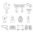 religion and belief outline icons in set vector image