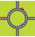 Road white marking and cartoon cars Circle round vector image vector image