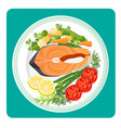 salmon fish meat slice and vegetables vector image vector image