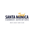 santa monica surfing emblem or logo vector image