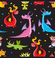 seamless pattern with cartoon dragon characters vector image