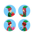 set christmas girl boy face profile avatar vector image