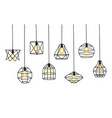 set of different geometric loft lamps and iron vector image