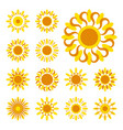 set of sun icons vector image vector image
