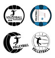set volleyball logo for the team and the cup vector image vector image