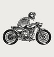 skeleton racer riding brat style motorcycle vector image vector image