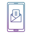 smartphone with envelope mail vector image vector image