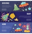 Space Theme Cartoon Banners Collection vector image vector image
