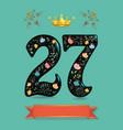 sparkling floral number twenty seven with crown vector image vector image