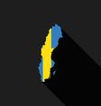 Sweden flag map flat design vector image vector image