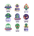 ufo logo original design set emblem with alien vector image vector image