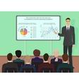 Businessman expert giving presentation seminar vector image