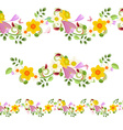 collection horizontal seamless borders with spring vector image