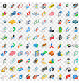 100 business strategy icons set isometric style vector image vector image