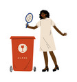 african american woman throwing glass waste into vector image vector image