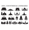 asia countries landmarks silhouette vector image