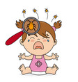 baby girl crying because she has lice vector image vector image