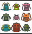 backpacks or rucksack isolated icons for vector image vector image