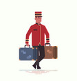 bell boy carrying suitcases service concept vector image vector image