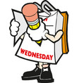 cartoon mark calendar wednesday hand vector image vector image