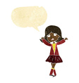 cartoon unhappy girl with speech bubble vector image