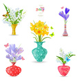 collection of vases with fine spring flowers for vector image