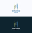 Couple silhouette two people logo vector image vector image
