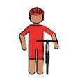 Drawing professional racing cyclist uniform helmet vector image
