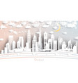 dubai uae city skyline in paper cut style vector image