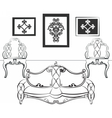 Elegant Interior set with leather furniture vector image vector image