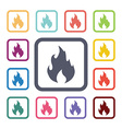 fire flat icons set vector image
