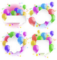 four bubble speech with colorful balloons vector image vector image