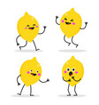 happy lemon characters dancing and smiling vector image vector image