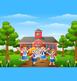 happy school children in front of school building vector image vector image