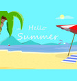 hello summer beach background day time seascape vector image vector image