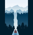 highway drive with beautiful mountain spruce vector image